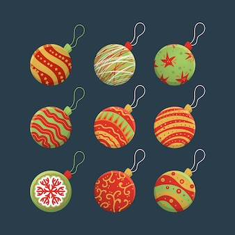 Christmas balls in various designs hand drawn