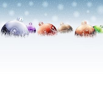 コピースペース付きのクリスマスボール。