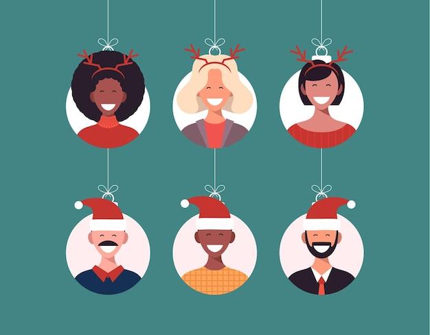 산타 모자에 귀여운 사람 캐릭터 남자와 사슴 뿔에 여자와 크리스마스 공. 기쁜 성 탄과 새 해 복 많이 받으세요 인사말 카드 배너 만화 겨울 휴가 세트