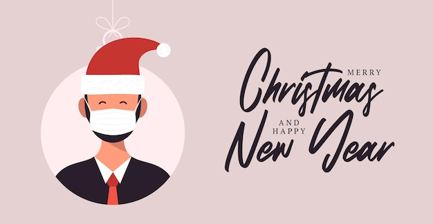 Christmas balls with cute person character man in santa hat. merry christmas and happy new year greeting card banner cartoon winter holidays set