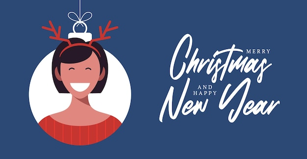 Christmas balls with cute person character woman deer hat horns. merry christmas and happy new year greeting card banner cartoon winter holidays set