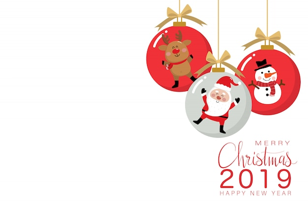かわいいサンタクロース鹿と雪だるまを持つクリスマスボール