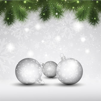 モミの木の枝とつまらないものとクリスマスボール