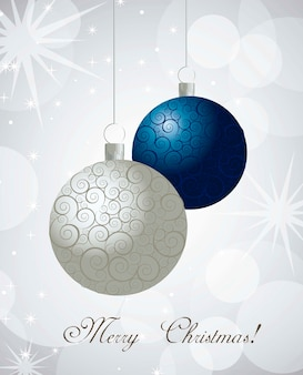 Christmas balls with ornament over light background vector