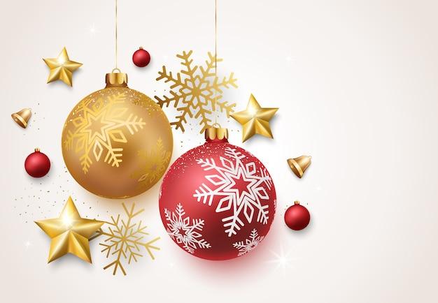 Новогодние шары со звездами и колокольчиками