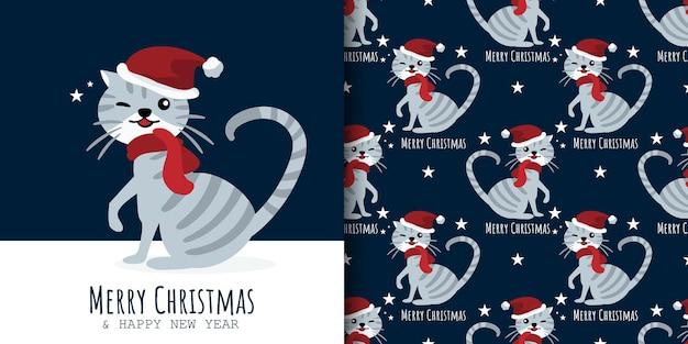 クリスマスのバナーと猫のシームレスなパターンは、サンタの帽子と星と赤いスカーフを着用します