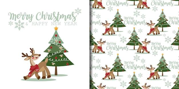 クリスマスバナーとクリスマスツリーと雪片とかわいいトナカイのシームレスなパターン