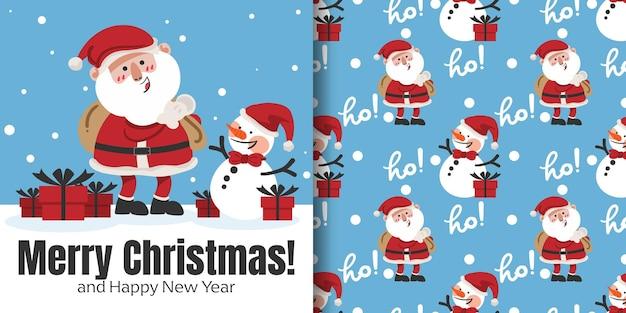 Рождественский баннер и бесшовные модели санта-клауса с подарочными коробками и снеговиком