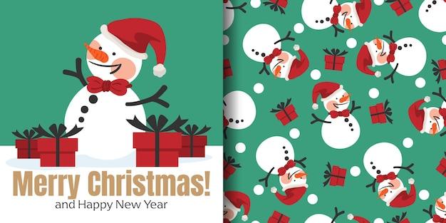 Рождественский баннер и бесшовные модели снеговика носить шляпу санта-клауса и подарочные коробки