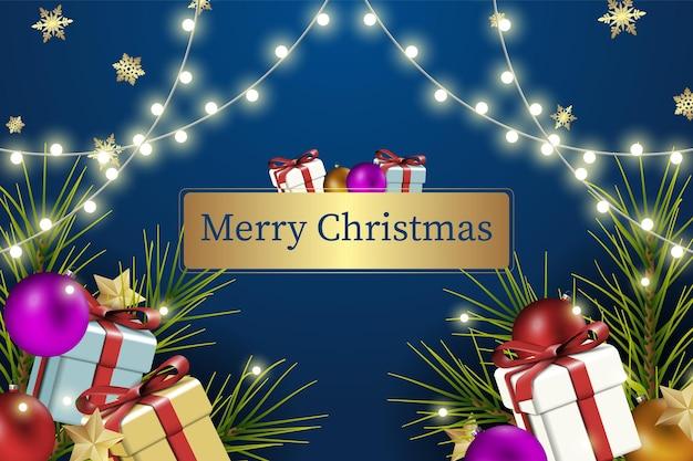 Рождественский фон баннера с украшениями стеклянный шар и подарочной коробке. векторная иллюстрация.