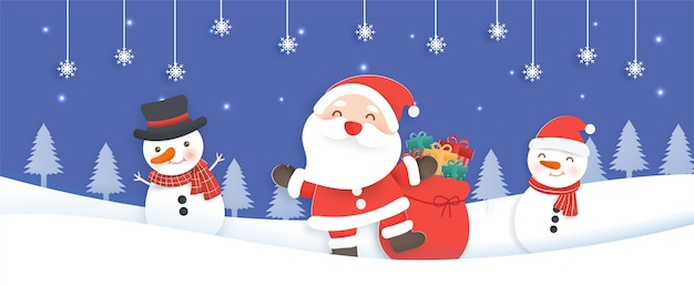 Christmas banner, background with a santa clause and friends in the snow village paper cut and craft style.