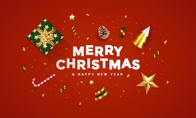 クリスマスバナー。背景リアルなギフトボックス、3dレンダリングコーン、ワインのボトル、金色の紙吹雪、装飾品のクリスマスデザイン。横長のクリスマスポスター、グリーティングカード、ウェブサイトのヘッダー