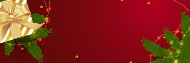 Рождественский баннер. предпосылка xmas дизайн реалистичной коробки подарков. горизонтальный плакат, открытка, заголовки, веб-сайт. плоская планировка предметов украшения, вид сверху.