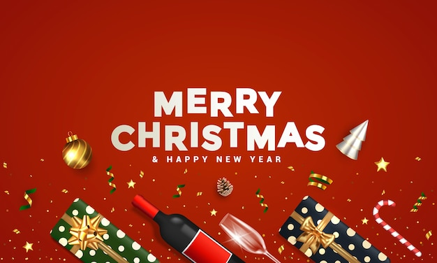 Christmas banner. background xmas design of realistic gift box, 3d render cone, bottle of wine, golden confetti and ornaments. horizontal christmas poster, greeting card, headers for website