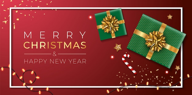 Christmas banner. background xmas design of sparkling lights garland, with realistic gifts box, gold stars and glitter gold confetti. horizontal christmas poster, greeting cards, headers, website