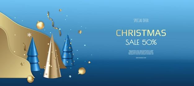 クリスマスバナー。クリスマスボール、金の紙吹雪、クリスマスツリーと背景のクリスマスデザイン。横向きの新年のポスター、グリーティングカード、ヘッダー、ウェブサイト。