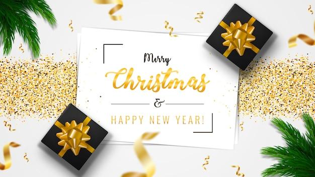 クリスマスバナー。白いシーツと背景クリスマスデザイン