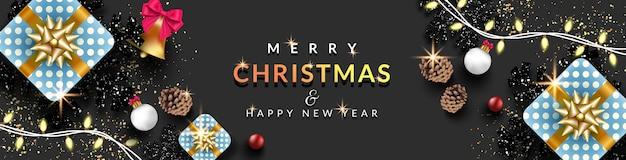 クリスマスバナーの背景、輝く光のクリスマス、リアルなギフトボックス、黒い雪の結晶、クリスマスボール