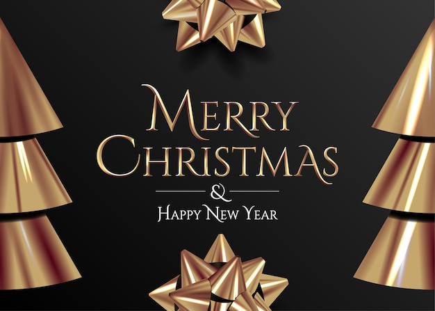 Christmas banner or card or poster design template with merry christmas golden lettering on black background