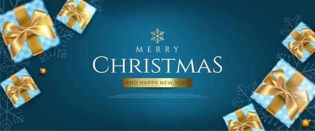 Рождественский баннер праздник шаблон праздничное украшение на рождество
