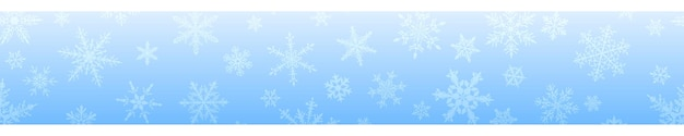 Christmas banner of complex big and small snowflakes in light blue colors. with horizontal repetition