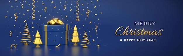 クリスマスバナー。金色の弓と金色のメタリックパイン、トウヒの木が入ったギフトボックスからの構成。新年の円錐形の木。クリスマスの背景、グリーティングカード、ヘッダー。ベクトル3dリアルなイラスト。