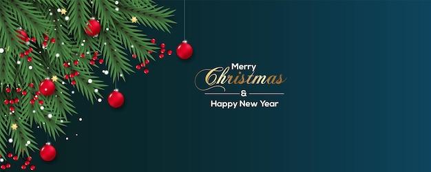 ベリー松の枝と赤いボールのコンセプトでクリスマスバナーの装飾