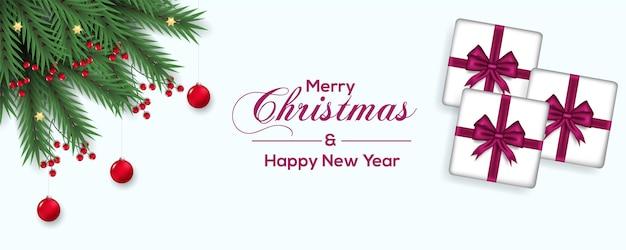 ベリー松の枝と赤いボールギフトボックスピンクリボンのクリスマスバナー装飾