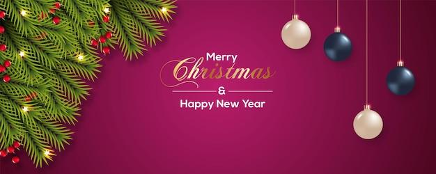 クリスマスボールの赤い裸のクリスマスバナーの装飾