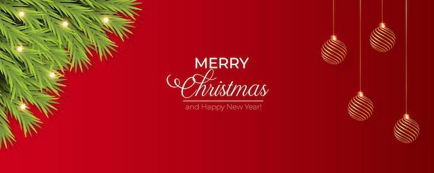Christmas banner decoration with pine branch  christmas ball and light
