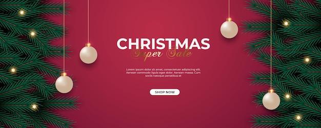 Christmas banner decoration  with pine branch  christmas ball and star light