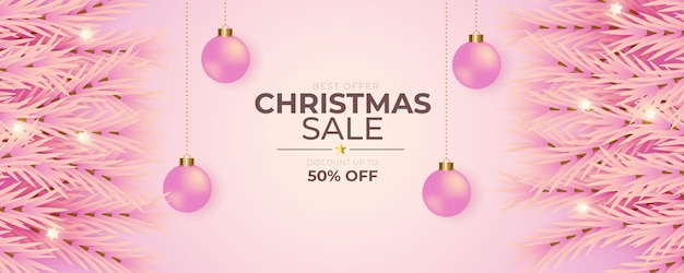 Christmas banner decoration with pink background and pink christmas ball