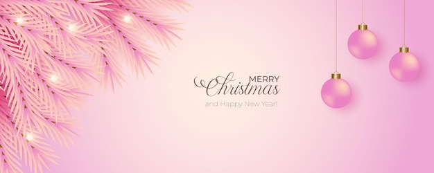 Christmas banner decoration with pink background pink pine branch and pink christmas ball