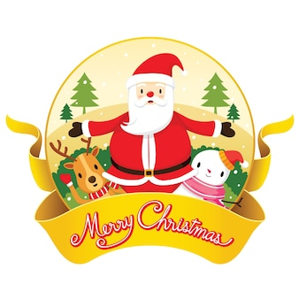 Christmas banner and decoration with santa claus, reindeer and snowman