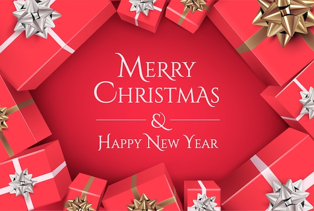 Christmas banner design with merry christmas and happy new year lettering on red background