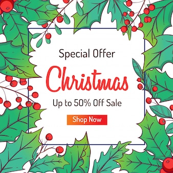 Christmas banner for discount or shopping sale with colorful leaves