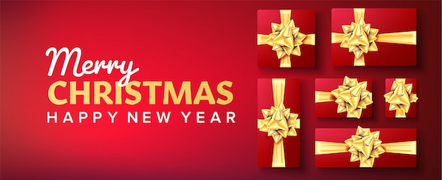 Christmas banner . gifts box with gold bow. red background