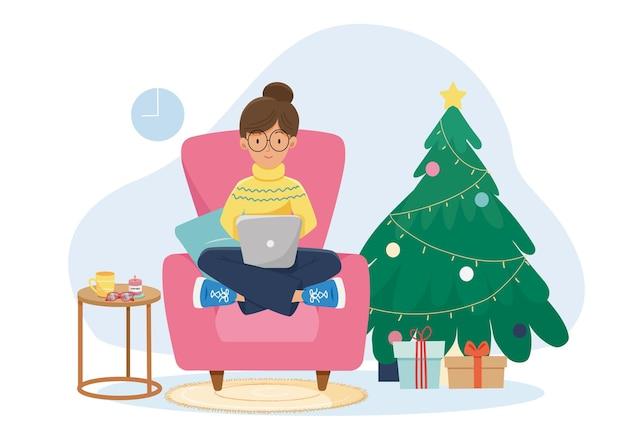 クリスマスバナー。女の子は装飾されたchistmasツリーで自宅でプレゼントをオンラインで買い物しています。背景クリスマスポスター、グリーティングカード、ウェブサイトのイラスト