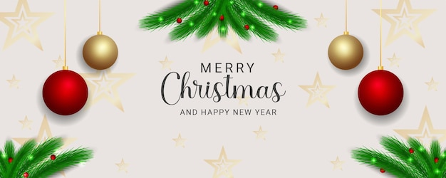 Christmas banner green leaf with christmas element and christmas lights balls