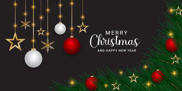 Christmas banner green leaf with christmas element and christmas lights