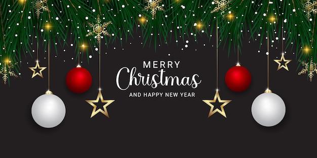 황금 눈송이와 크리스마스 배너 녹색 잎 크리스마스 조명