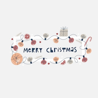 Christmas banner or greeting card with colorful light bulbs garland, gift boxes and fir branches.
