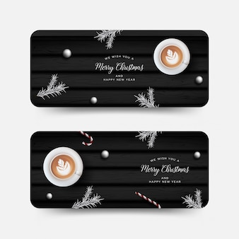 Christmas banner, greeting card with realistic decorative elements