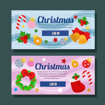 Christmas banner horizontal holiday flat element