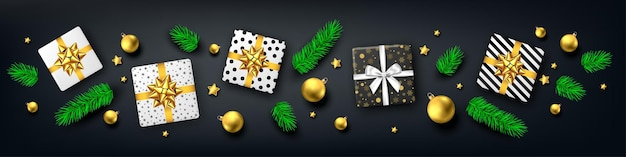 Рождественский баннер на черном фоне