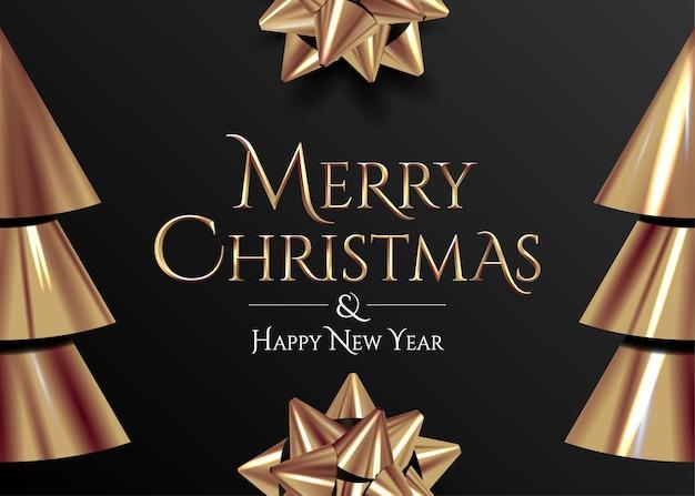 黒の背景にメリークリスマスの金色のレタリングとクリスマスのバナーまたはカードまたはポスターのデザインテンプレート