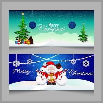 クリスマスバナーまたはサンタとアイスボールのハダーとギフトやライトの装飾