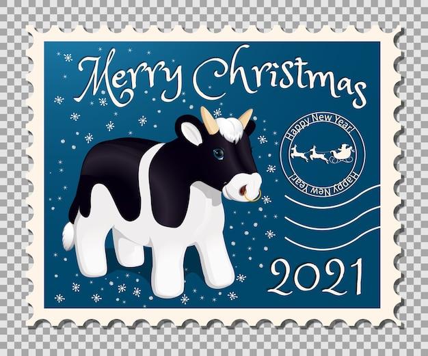 雄牛とクリスマスバナー切手。中国の旧正月の漫画のキャラクター。