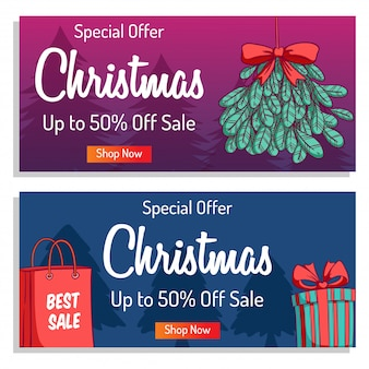 Christmas banner or poster for shopping sale or promo with colorful