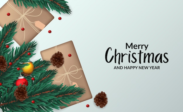 Christmas banner poster template with illustration of fir leaves garland with decoration top view